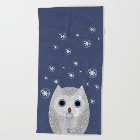 Christmas Owl Blue Marble Beach Towel