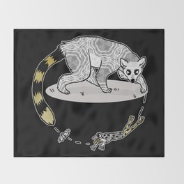 Ring Tailed Lemur, Frog & Fly, Funny Animal Illustration, Black and White Cute Lemur Graphic Design Throw Blanket