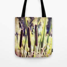Three Cattails in Strong Sunlight Retro Style Tote Bag