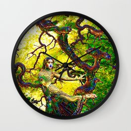 """Beneath the Bodhi Tree 2.0"" - Deep Dream Wall Clock"