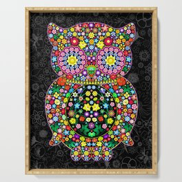Owl Zentangle Floral   Serving Tray