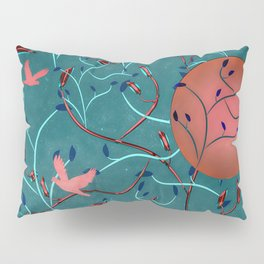Art Nouveau Moon and Doves (Bronze and Blue) Pillow Sham