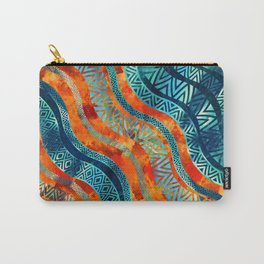 Wavy Tribal  Ethnic Boho Pattern Carry-All Pouch