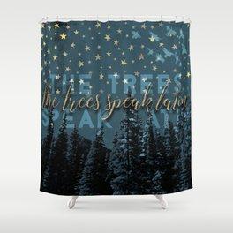 The trees speak latin Shower Curtain