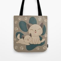 mew Tote Bags featuring Mama, Mew...Mew... by HK Chik