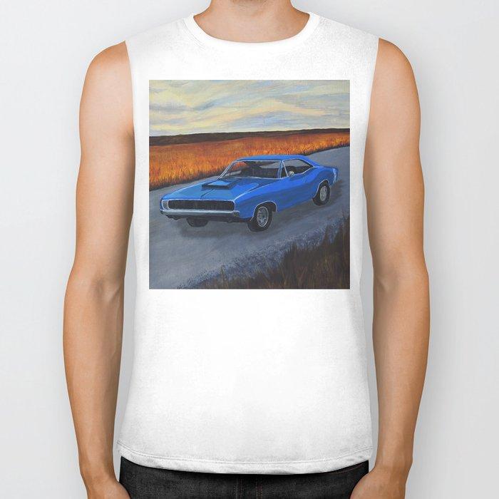 Blue Dodge Charger Biker Tank