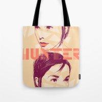 bjork Tote Bags featuring Bjork by Isabel Arenas
