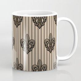 Fleur de Lis on Stripes in Sepia Coffee Mug