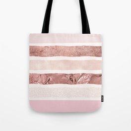 Modern blush pink faux rose gold geometrical stripes Tote Bag