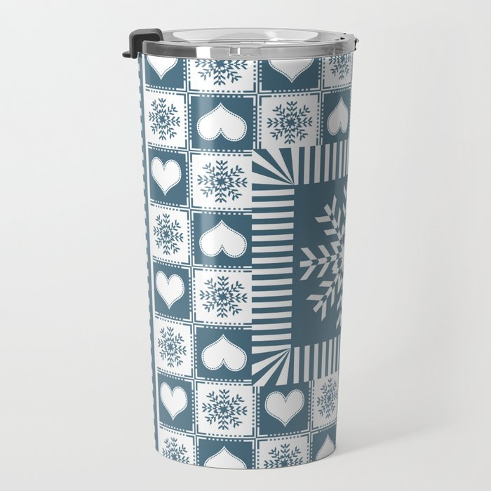 Winter Snowflake Christmas Pattern Travel Mug