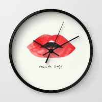 mouth Wall Clocks featuring Mouth Fuji by I Love Doodle