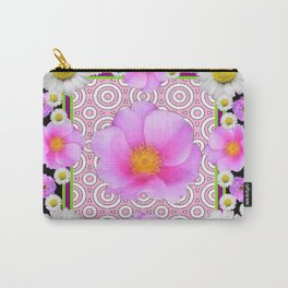 Floral Abundance Black Shasta Daisy Pink Roses Abstract Art For the home or the office and gifts fro Carry-All Pouch