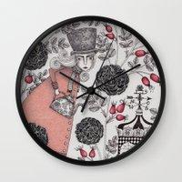 garden Wall Clocks featuring Winter Garden by Judith Clay