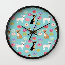 Chihuahua donuts dessert dog breed gifts for dog person chiwawa lovers Wall Clock