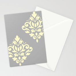 Scroll Damask Art I Yellow on Grey Stationery Cards