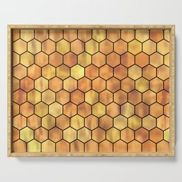 Golden Honeycomb Pattern Serving Tray