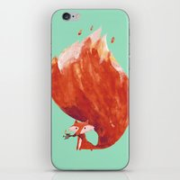 kitsune iPhone & iPod Skins featuring Kitsune (Fox of fire) by Picomodi