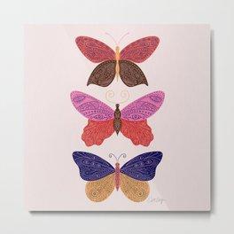 Tattooed Butterflies – Primary Palette Metal Print