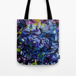 Dragonflies Flying in a Colorful Sky with Happy Yellow Highlights Delight by annmariescreations Tote Bag