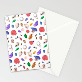Hand painted pink coral green seashells nautical pattern Stationery Cards
