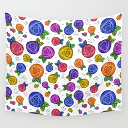 Retro Illustrated Roses Wall Tapestry