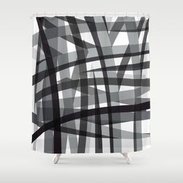 grey crossed stripes Shower Curtain