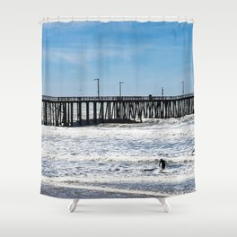 A Panoramic View Of Pismo Beach Pier, Surfers And Ocean Shower Curtain