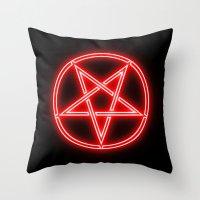 pentagram Throw Pillows featuring Bright Neon Red Pentagram by PodArtist