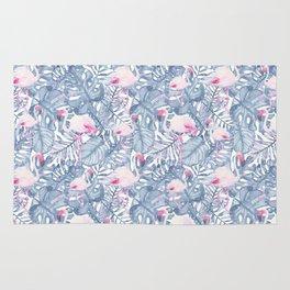 Pink blue watercolor tropical flamingo floral Rug