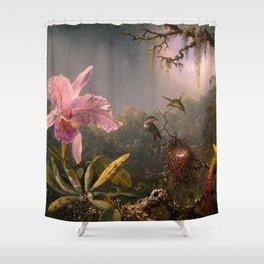 CATTLEYA ORCHID AND THREE BRAZILIAN HUMMINGBIRDS - MARTIN JOHNSON HEADE Shower Curtain