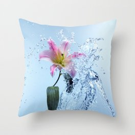 Water Lily Splash Throw Pillow