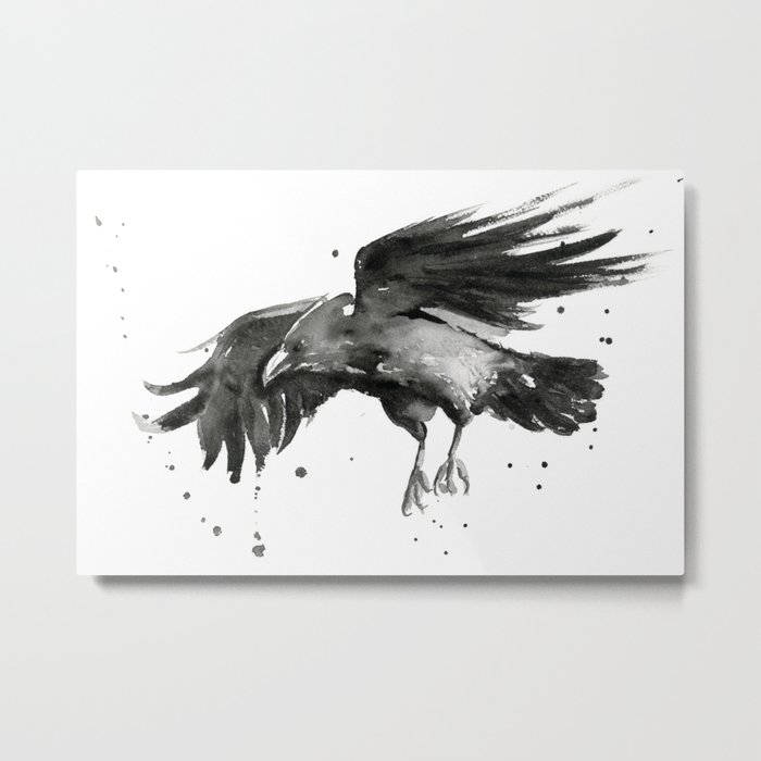 Raven Watercolor Bird Painting Black Animals Metal Print