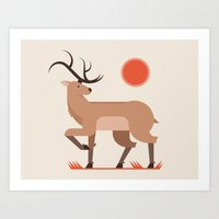 stag Art Prints featuring Stag by Matt Anderson