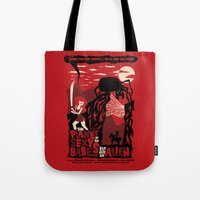 movie posters Tote Bags featuring B-Movie by jublin