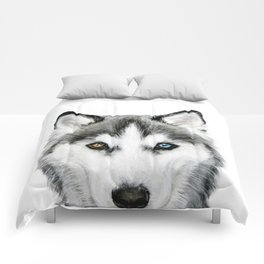 Siberian Husky dog with two eye color Dog illustration original painting print Comforters
