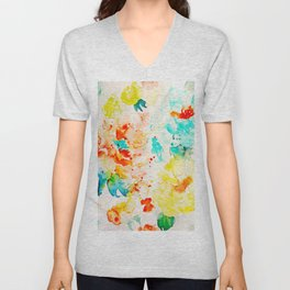 Watercolor Abstract Floral Pattern Red Orange Blue Roses Unisex V-Neck