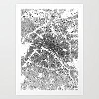 paris Art Prints featuring PARIS by Maps Factory