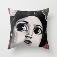 leia Throw Pillows featuring Leia by Drawn by Nina