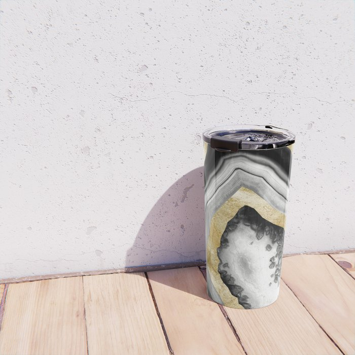 Agate Gold Foil Glam #1 #gem #decor #art #society6 Travel Mug