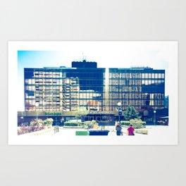 Reflejo en Edificio Bronce Art Print