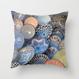 Colourful Plates, Morocco Throw Pillow