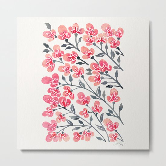 Cherry Blossoms – Pink & Black Palette Metal Print