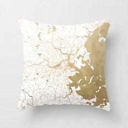 Boston White and Gold Map Throw Pillow