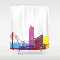 manchester Shower Curtains featuring Manchester skyline pop by Paulrommer