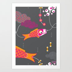 Koi No Bori in the Night Sky Art Print