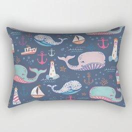 Whale Toss Rectangular Pillow