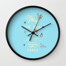Hunger Game quality calligraphy - gold version - lightblue Wall Clock