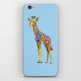 Geraldine the Geniunely Nice Giraffe Blue iPhone Skin