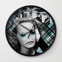 sad Wall Clocks featuring sad by Rosa Picnic