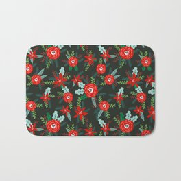 Floral christmas painted florals flower decor seasonal holidays red green Bath Mat